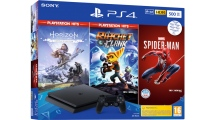 Sony PS4 500GB F Chassis & Marvel's SpiderMan & Horizon Zero Dawn Complete Edition Hits & Ratchet & Clank Hits