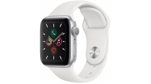 Apple Watch Series 5 GPS, 44mm Silver Aluminium Case με White Sport Band